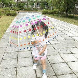 Clear Dome Umbrella For Rain Women Girls Transparent Large Big Bubble Kids Dots