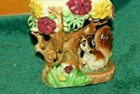 Vintage? Ceramic Wall Pocket/Vase Squirrel Under Tree  Signed Sheflora