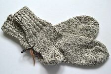 NEW Hand Knitted 100% Pure Soft Wool Men's Socks 9-11 Marled Oatmeal Great Gift