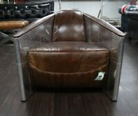 AVIATOR TOMCAT AVIATION TUB CHAIR ALUMINIUM REAL VINTAGE BROWN LEATHER