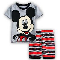 KIDS GIRLS BOYS DISNEY MINNIE MOUSE PYJAMAS 2PCS PJS T-Shirt Shorts Set 6M-8Y