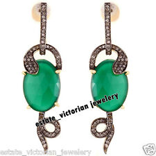Artdeco Estate 3.40cts Rose Diamond Emerald Studded Silver Snake Earring Jewelry