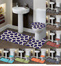 NEW BEAUTIFUL BATHROOM SET BANDED BATH MAT COUNTOUR RUG LID COVER #7 GEOMETRIC