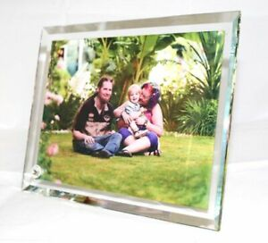 Personalised Crystal Glass Bevelled Edged Large Photo Frame with Stand