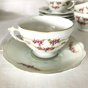 Hermann Ohme Silesia Rosen Girlande Kaffeetasse 2 tlg Jugendstil Louis XVI mehr