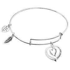 Sterling Silver Mother Daughter Heart Dangle Adjustable Wire Bangle Bracelets