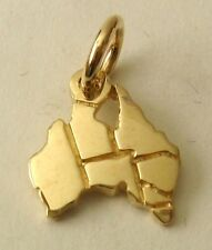 GENUINE SOLID 9K 9ct Yellow GOLD AUSTRALIA MAP HOLIDAY Charm/Pendant