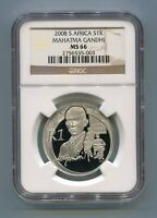 NGC Certified South Africa 2008 Mahatma Gandhi Silver R1 MS66 Coin