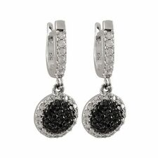 Pave Domed Circle Pierced Dangle Earrings Sterling Silver Black & White Cz Micro