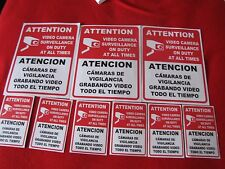 VIDEO SURVEILLANCE Security Decal  Warning Sticker english & spanish( set of 9)