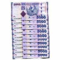 TANZANIA SET 10 PCS 5000 - 5.000 Shillings 2015  Pick- 43b NEW UNC