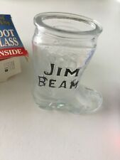 2 JIM BEAM Cowboy Boot Shot Glasses Man Cave Must Have Never used in Boxes