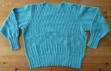 Hingucker: grüner Taillen Pullover 100 % Baumwolle Gr. 36 Handarbeit
