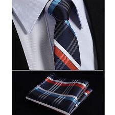 Mens Tie SALE Scottish Tartan in Grey Silver Black Purple Blue Stripe Free Hanky