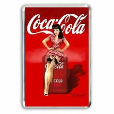 RETRO COCA COLA VINTAGE ADVERT BETTIE PAGE? POSTER ART JUMBO FRIDGE MAGNET