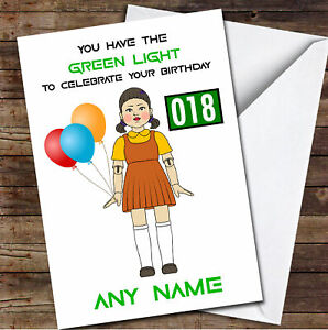 Squid Game Funny Doll Green Light Any Age Personalised Birthday Card
