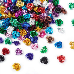 200 pcs Mixed Color Aluminum Rose Flower Tiny Metal Beads For DIY Jewelry Making