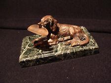 Sculpture chien de chasse porte stylo en métal cuivré fin 19ème début 20ème