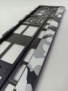 Gray Camouflage style holder for EURO license plate frames FOR ALL CARS