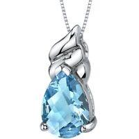 2.75 CT Pear Swiss Blue Topaz Sterling Silver Pendant