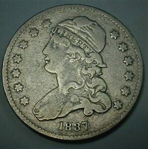 1837 USA Capped Bust Silver Quarter Dollar in Circulated Fine Condition  (416)