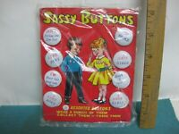 Vintage 1950's, Sassy Buttons Pin Backs sealed and still on original card, Japan