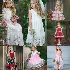 Kids Flower Girl Princess Birthday Dress Wedding Party Bridesmaid Costume Prom
