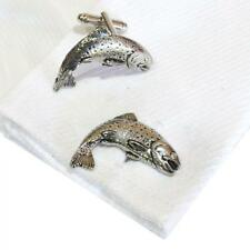 Handmade in England Fish Fly Fishing Silver Pewter Trout High Quality Cufflinks