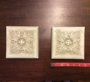 Set Of 2 LEAF Art Decor Wall Plaques, Gray Plaster, Square With Hangers