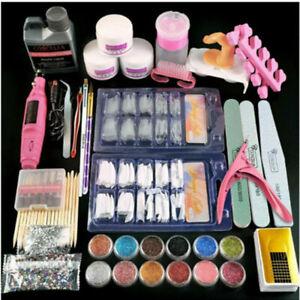 Pro Acrylic Nail Art Tool Starter Kit Powder Nail Sticker UV LED Manicure DIY
