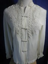 """Vtg""""PEACOCK"""" Chinese Hand Embroidered Beige 100% PURE SILK Blouse Shirt S 32"""