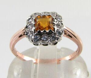 9k 9CT ROSE GOLD MADEIRA CITRINE DIAMOND ART DECO INS DAINTY RING FREE RESIZE