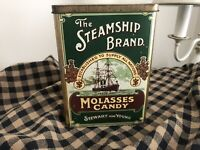 Vintage THE STEAMSHIP BRAND Molasses Candy TIN Stewart & Young Scottish