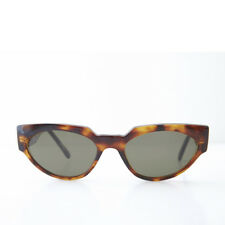 Brown Cat Eye Vintage Sunglasses Thick Unique Frame and Green Lens- Ellie
