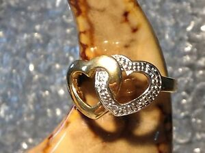 9CT YELLOW GOLD PLATED ON SILVER DOUBLE HEART LADIES RING - SIZE L