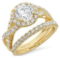2.5ct Round Cut Halo Bridal Engagement Wedding Ring Band Set 14k Yellow Gold