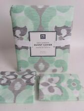 New Pottery Barn PB Teen Geo Garden FQ duvet cover & 2 shams (for duvet) green