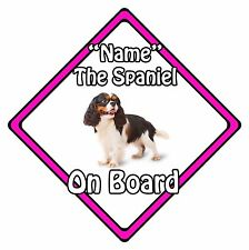 Personalised Dog On Board Car Safety Sign - King Charles Spaniel On Board Pink