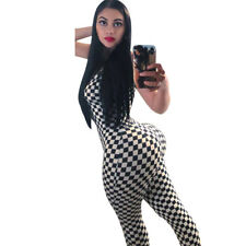 Women spaghetti strap bodycon check plaids print casual club party long jumpsuit