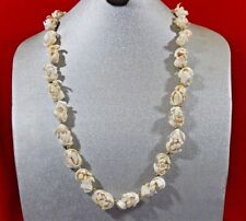 """UNIQUE VTG .CHUNKY OFF WHITE MOLDED LUCITE MID CENTURY MODERNIST NECKLACE 30"""""""