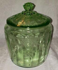 Vintage Vaseline Ballerina Green Depression Glass Biscuit, Cracker, Cookie Jar