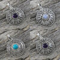 925 Sterling Silver Multi Gemstone Pendant Jewelry Variation Size 1 1/2""