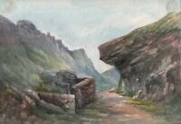 KING ARTHUR'S CASTLE FROM VALLEY TINTAGEL CORNWALL Watercolour Painting c1910