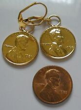 Coins Real Penny Earrings 14 Kt Electro Gold Plated Leverback Dangle Handmade