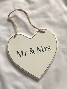 Shabby Chic Wooden Heart Sign Plaque Quote, Mr & Mrs, Wedding Love