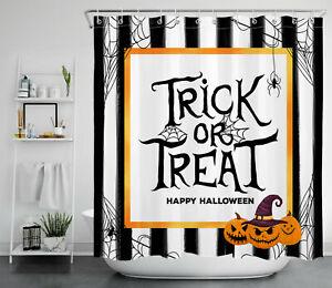 Trick or Treat Shower Curtain Happy Halloween Black White Striped Bathroom Set