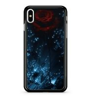 Floral Lush Red Crimson Rose Blue Twinkling Milky Way Stars 2D Phone Case Cover