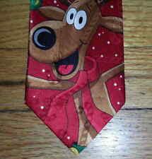 Yule Tie Greetings Hallmark Tie Red Green Brown Reindeer Antlers Baubles t3731