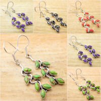 925 Silver Plated Natural GREEN COPPER TURQUOISE & Othe Earrings Many Choices