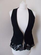 Women's Black  V Neck Lace Back  Waistcoat Vest by Dorothy Perkins Size 10